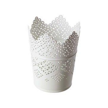 Bougeoir Blanc Dentelle 22 cm